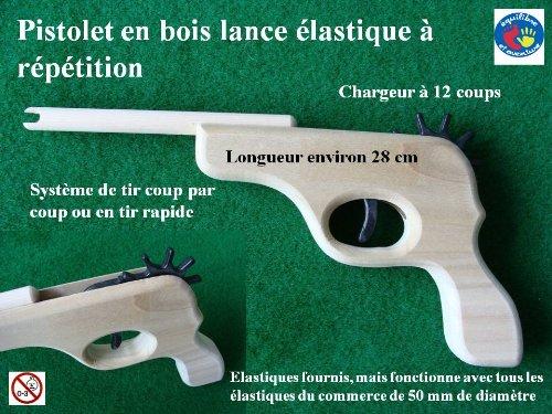 Jouets de France Révolver en Bois Lance élastiques à répétition