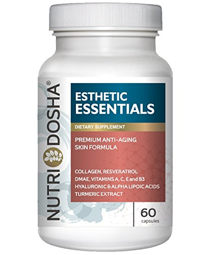 Nutridosha Anti-aging Ultra-Hydrating Amino and Antioxidant Enriched Supplement with 300mg Alpha Lipoic Acid (ALA), DMAE, Collagen, Resveratrol, Hyaluronic Acid, and Turmeric Extract for Women and Men
