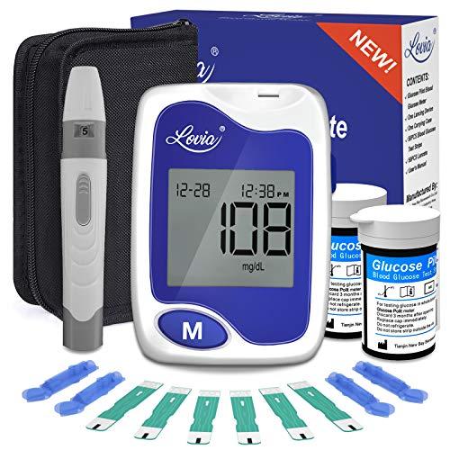 Diabetes Testing Kit - Lovia Blood Sugar Test Kit, 50 Glucometer Strips, 1 Lancing Device, 50...