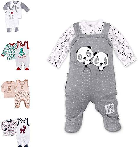 Baby Sweets 2er Strampler Set & Shirt für Mädchen und Jungen Verschiedene Größen, Grau - Super Pandas, 12 Monate (80)