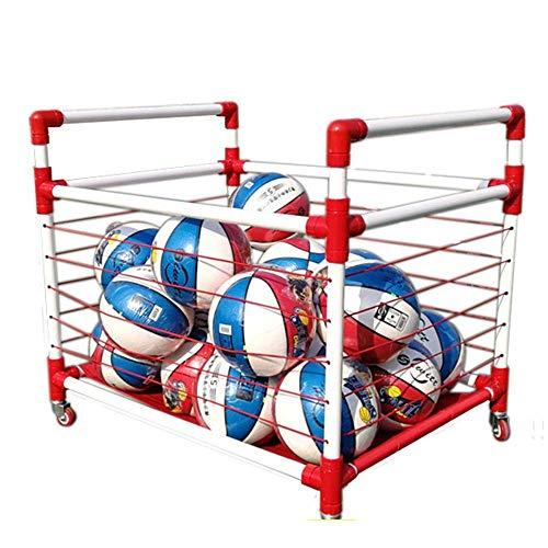 LKAIBIN Rack de almacenamiento de baloncesto jardín de infantes colocado en rack bola móvil del carro de fútbol Caja bola de la cesta bola de los niños de la bola carretilla