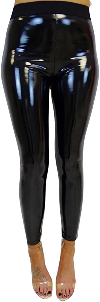 FUNEY Faux Leather Leggings Pants Stretchy High Waisted Tights for Women Sexy Wet Look Shiny Metallic Pants Yoga Pants
