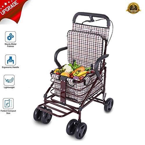 Hongzer Wagen, Verbesserter zusammenklappbarer Warenkorb Treppensteigwagen mit Vier Rädern, Lebensmittellieferwagen für Walker, Alter Mann, Kinderwagen