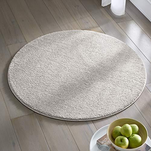 Teppich Wölkchen Kurzflor Teppich I Flauschige Flachflor Teppiche fürs Wohnzimmer, Esszimmer, Schlafzimmer oder Kinderzimmer I Einfarbig I Grau - 160 rund
