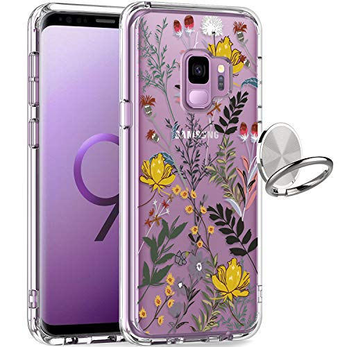 GiiKa Galaxy S9 Case, Clear Heavy Duty Shockproof Girls Women Protective Phone Cover Case for Samsung Galaxy S9, Wildflower