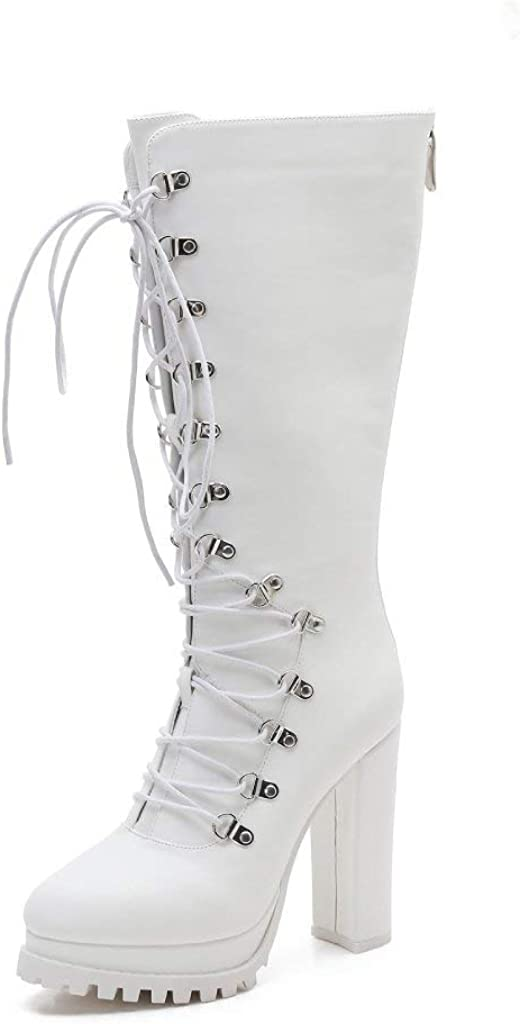 MACKIN J 585-9 Women's Round Toe Wide Knee High Riding Boots Chunky Heel Lace Up Boots