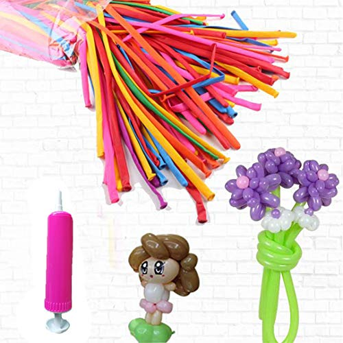 Tinyuet Long Balloons, Magic Balloons(100 PCS) with Hand Pump for Animals, Wedding, Birthday, and Party Decorations