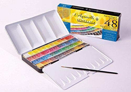 Sennelier L'Aquarelle Watercolor Paint 48 Half Pan Set