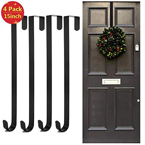 4 Stück 38,1 cm Weihnachtskranz-Aufhänger, Kranz-Haken zum Aufhängen für hohe Türen, Glastüren, Holztür-Dekoration