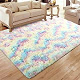 Flagover Fluffy Rainbow Area Rugs for Bedroom Soft Colorful Rugs for Girls Room Kids Baby Room and Living Room Nursery Home Decor Large Accent Floor Carpet 3 x 5 Feet