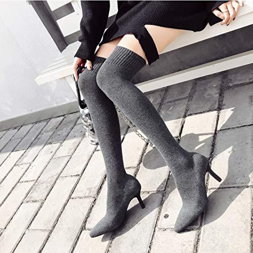 Shukun laarsjes bovenbeen laarzen stretch schoenen vrouwelijke lange punten sokken laarzen hoge hak laarzen met dunne skinny boots kousen laarzen