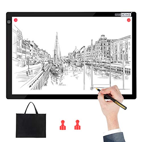 VIVOHOME A3 Magnetic USB Powered Ultra-Thin LED Light Box Board Tracing Light Pad with 3 Brightness for Diamond Painting Artist Sketching Drawing Craft