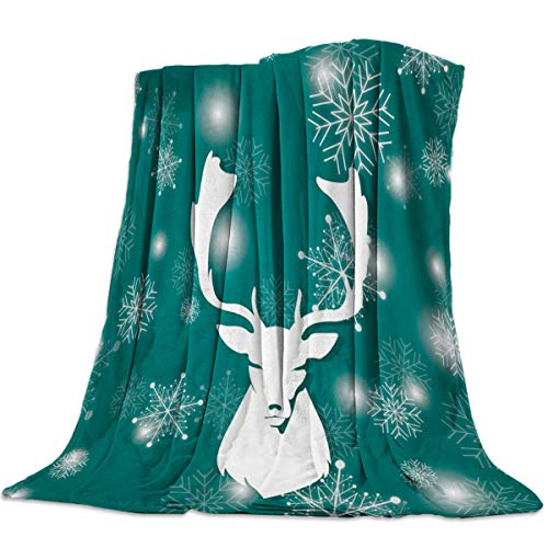 Merry Christmas Throw Blanket 40x50inch, Lightweight Cozy Plush Bed Blankets, Comfy Microfiber Blanket for Couch Sofa Bed Snowfalke and Elk Head Clip Art Green