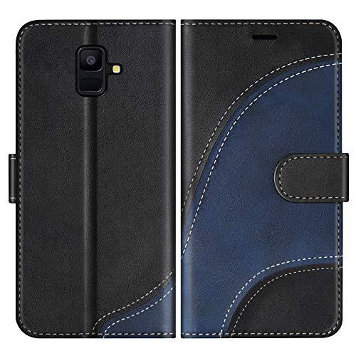 BoxTii Cover per Galaxy A6 2018, Custodia in PU Pelle Portafoglio per Samsung Galaxy A6 2018, Magnetica Cover a Libro con Slot per Schede, Nero