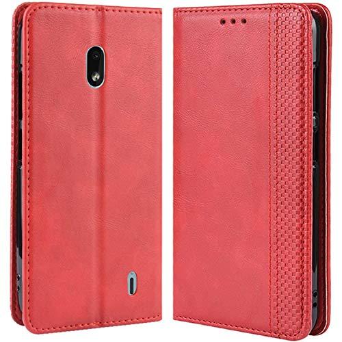 HualuBro Handyhülle für Nokia 2.2 Hülle, Retro Leder Brieftasche Tasche Schutzhülle Handytasche LederHülle Flip Hülle Cover für Nokia 2.2 2019 - Rot