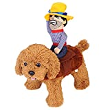 Dog Costume Halloween Pet Dog Cowboy Rider Costume Christmas Dogs Cats Suit Outfit Knight Style with Doll and Hat Adjustable Puppy Funny Cosplay Clothes Clothing Dog Dress Up Apparel Costume Size XL