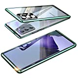 Magnética Funda para Samsung Galaxy Note 20 Ultra 5G, Protector de Lente de cámara Doble Vidrio Templado Case Marco Metal Funda Protección 360 Grados Alta definición Camera Protector Cubierta - Verde
