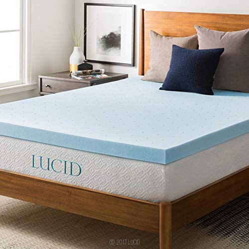 LUCID 3-inch Ventilated Gel Memory Foam Mattress Topper -...