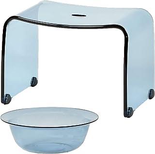Favor 【フェイヴァ】 アクリル製 お風呂いす<M>サイズ & お風呂ボウル 2点セット  (ブルー)