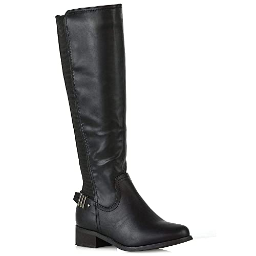 393a3b77266 Womens Elasticated Knee High Boots Ladies Stretch Backstrap Biker Boots Size