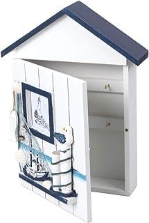 NICEXMAS Cabinet de clés de style méditerranéen en bois style nautique monté sur le mur Porte-clés en bois Boîte de rangem...