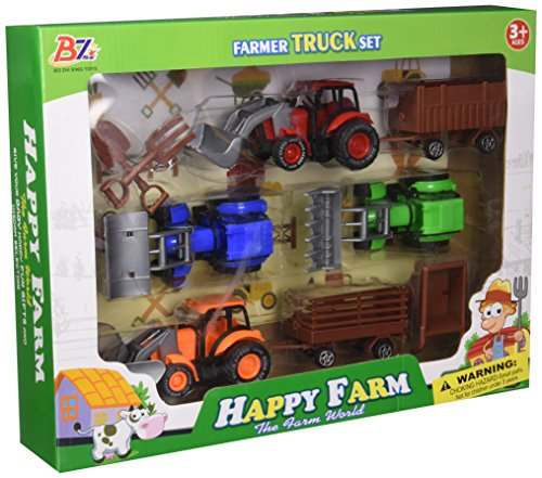 Kole Farm Tractor Truck & Trailer Set Kids Toy Vehicles