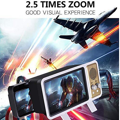 Lupa de pantalla 3D estilo retro con altavoz inalámbrico,amplificador de películas HD portátil de 8inch con soporte plegable,altavoz BT de cambio USB,teléfono móvil accesorio,proyector de pantalla