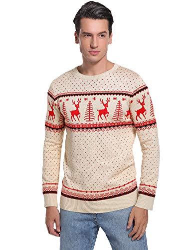 Abollria Kersttrui met rendier sneeuwvlokken patroon ronde hals lange mouwen wintertrui Noors gebreide trui voor winter