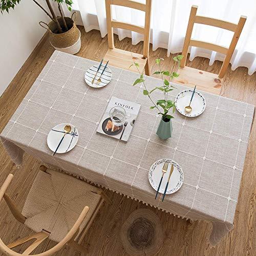 Tenrany Home Rectangulares Manteles Algodon Lino, Antimanchas Mantel de Mesa Raya Gris Tablecloth para Decoracion del Hogar Cocina Oficinas(Khaki Gitter, 140 * 240 cm)
