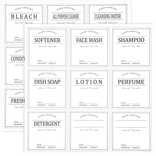 108 Pieces 3 x 3 Inches Waterproof Removable Labels Stickers White Printed Waterproof Labels 18 Kinds Soap Lotion Dispenser Labels Farmhouse Label Stickers for 16oz Spray Bottles Kitchen Bathroom
