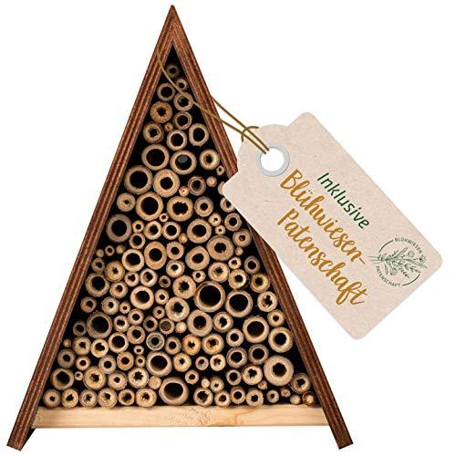 Gardigo Bienenhotel inkl. Blühwiesenpatenschaft I Unterschlupf für Wildbienen I Bienenhaus für den Garten zum Aufhängen und wetterfest I Made in Germany