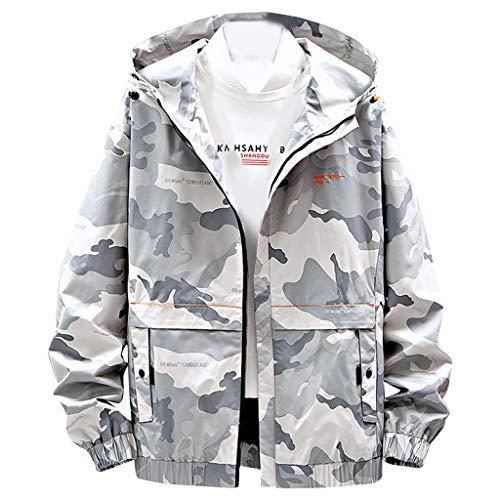 MAYOGO Herren Sweatjacke Lässige Camouflage Kapuzenjacke Regenjacke Streetwear College Jacke Übergangsjacke Dünn Full Zip Herrenjacke Jacken Cardigan Sweatjacke Mantel (Grau, XL)
