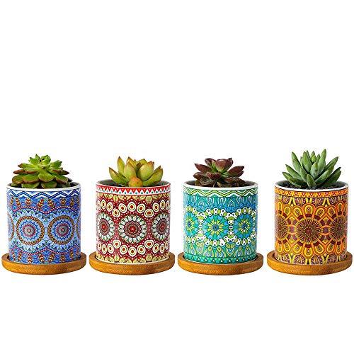 winemana Mandala-Stil Sukkulenten-Blumentöpfe, 7,6 cm, moderner zylinderförmiger farbenfroher Keramik-Übertopf für Kaktus mit Ablaufloch und Bambus-Tabletts, 4er-Set