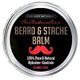 Natural Beard Balm for Men, Non-Greasy Beard Wax and Conditioner for Beard Growth, Amber Musk Scent Mustache Wax, Cruelty-Free, Beard Conditioner, Softening Beard Care by Pure Body Naturals, 1.75oz