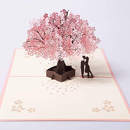 3D Pop up Tarjetas y Sobres/Tarjeta de felicitación desplegable para cumpleaños/Navidad/Año Nuevo/Dia de la madre/aniversario/San Valentín/boda/graduación/gracias(Cereza)