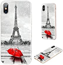 iPhone Xs Max Case,VoMotec Shockproof Slim Flexible Soft TPU 360 Full Protective Clear Thin Cover Cases with Art Design for iPhone Xs Max 6.5 Inch 2018,Paris Eiffel tower in the rain with red umbrella