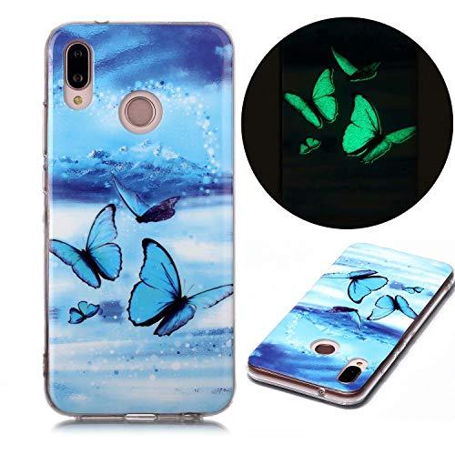 Miagon Leuchtend Luminous Hülle für Huawei P30 Lite,Fluoreszierend Licht im Dunkeln Handyhülle Silikon Case Handytasche Stoßfest Schutzhülle,Blau Schmetterling