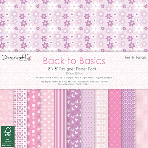 Dovecraft Back to Basics Pretty Petals FSC x 20,3 cm Confezione di Carta, Multicolore, 1, taglia unica
