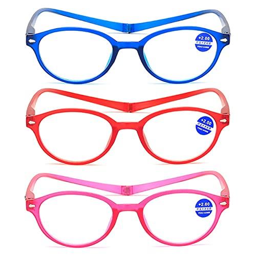 Paquete de 3 gafas de lectura magnéticas con nueva versión mejorada, que se pueden colgar del cuello, gafas de lectura anti-azul con pliegues de luz, gafas para hombres y mujeres,Mixed color,+2.50