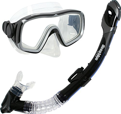 Deep Blue Gear Montego Ultra Dry Diving Mask and Dry Snorkel Set, Adult, Black