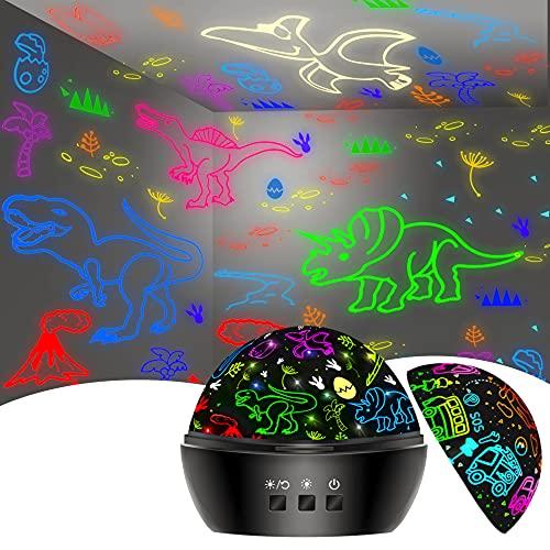 Dinosaurios Juguetes Niños 2-7 Años, 2 en 1 Lámpara Proyector Dinosaurios Infantil 1-9 Años 360° Rotación y 16 Modos Iluminación, Juguetes Regalos Para Niños Cumpleaños,Navidad, Halloween de 2-8 años