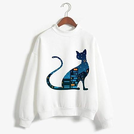 zysymx Camisetas con Estampado de Gato Ropa de Cuello Alto de Dibujos Animados para Mujer Kawaii Blanco Invierno Otoño Suelto Casual T: Amazon.es: Hogar