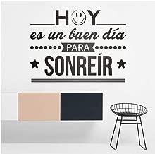wsydd Vinilos Decorativos Hoy ES Un Buen Dia para Sonreir Spnish Quotes Wall Vinyl Sticker Murals 57x43cm
