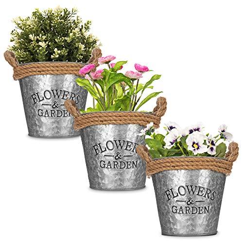 LIVIVO Zinc Plant Pot with Anti-Slug Cotton Rope Handles and 'Flowers & Garden' Design for Outdoor or Indoor Garden, Flower Pot, Herb Garden or Avocado Vase (Set of 3, Round)