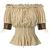 Top Mujer Steampunk Blusa Victoriana Medieval Top Retro Vintage Mid-Long Lace Flying 100% ALGODÓN Talla XL Caqui