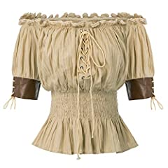 FEATURES: Off-the-shoulder design,Smocking waist,Neckline with elastic band,Half length sleeves with PU(Polyurethane) Leather cuffs,Lace-up details in the front Half length sleeves with PU(Polyurethane) Leather cuffs,Unique Style for you Warm Tips:Ha...