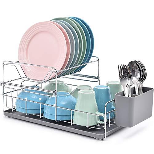 Kingrack WKUK810025-2 - Scolapiatti a 2 ripiani, in acciaio, con supporto rimovibile per posate e vassoio per gocciolare, scolapiatti, scolapiatti, da cucina, colore: grigio