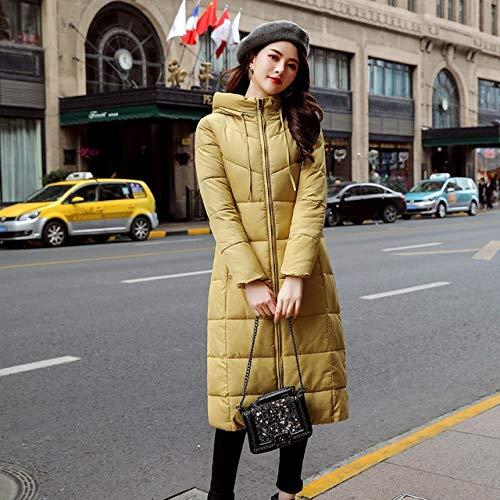 SWAQS donsjack basic stijl Solid Slim capuchon dames lange vrouwen jas waterdicht winddicht winterjas vrouwen Plus maat XXL geel