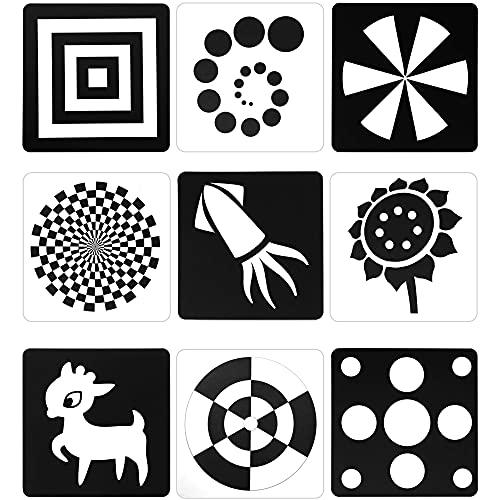 Schwarz Weiß Blitz Karten für Kleinkinder, 48 Bilder 5,5 x 5,5 Zoll Entworfen Kontrast Karten für Neugeborene im Alter von 0 bis 6 Monaten mit Hohe Kontrast