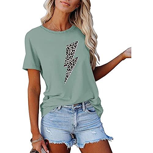 T-Shirt Donna Manica Corta semplicità Moda Estate Girocollo Donna Tops Chic Squisita personalità Leopardo Fulmine Stampa Design Quotidiano Casual Leggero all-Match Donna Bluse E-Light Green XXL